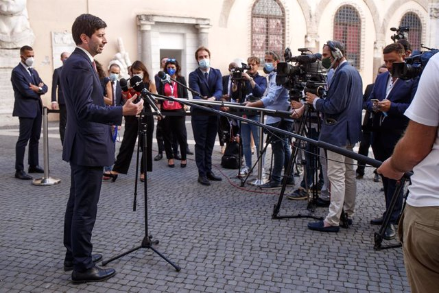 05 September 2021, Italy, Rome: Italian Health Minister Roberto Speranza speaks during a press conference of the G20 meeting of health ministers. Photo: Roberto Monaldo/LaPresse via ZUMA Press/dpa