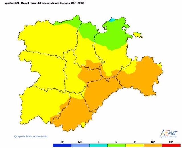 Mapa elaborado por la Aemet sobre las temperaturas de agosto de 2021 en CyL