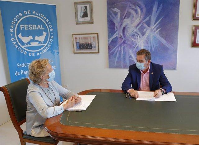 Archivo - Pilar González de Frutos, Presidenta UNESPA y Miguel Fernández, director de FESBAlL