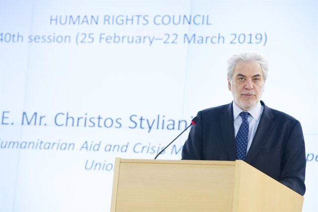 Archivo - HANDOUT - 26 February 2019, Switzerland, Geneva: European Commissioner for Humanitarian Aid and Crisis Management Christos Stylianides speaks during the 40th session of the UN Human Rights Council. Photo: Violaine Martin/UN Geneva/dpa - ATTENTIO