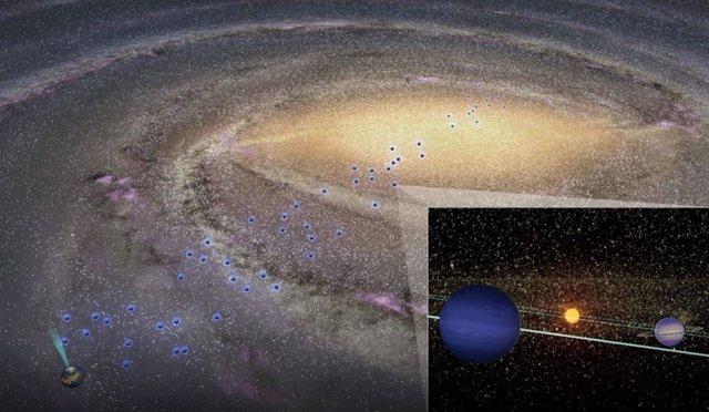 La concepción de un artista de la distribución de los planetas fríos a lo largo de la Vía Láctea. A modo de comparación, el cono cian es el campo de estudio de tránsito de Kepler. El recuadro muestra un sistema planetario en el bulbo galáctico.