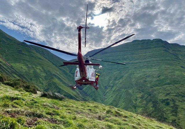 Traslado del fallecido en helicóptero