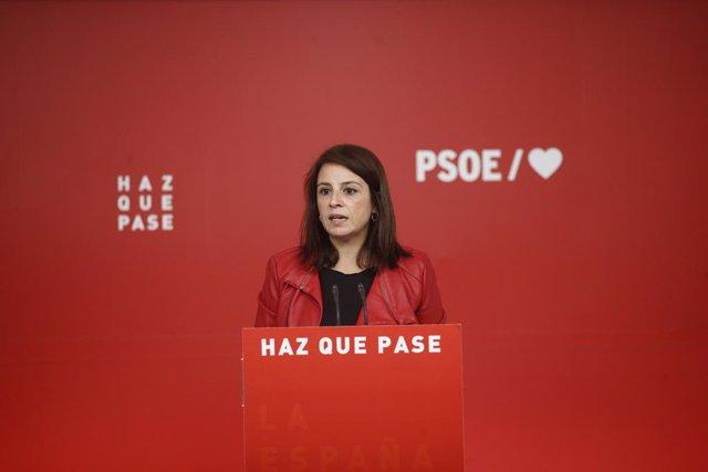 Archivo - Arxiu - La sots-secretària general del Partit Socialista, Adriana Lastra