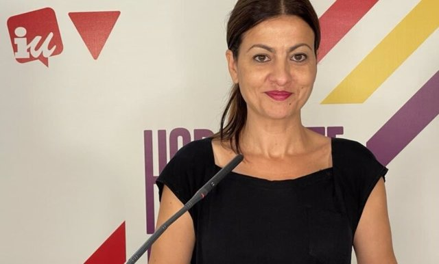 Imagen de la portavoz federal de IU y eurodiputada de la formación, Sira Rego, durante una rueda de prensa telemática.
