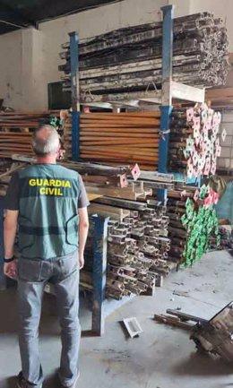 Material de construccion robado y localizado en Porcuna