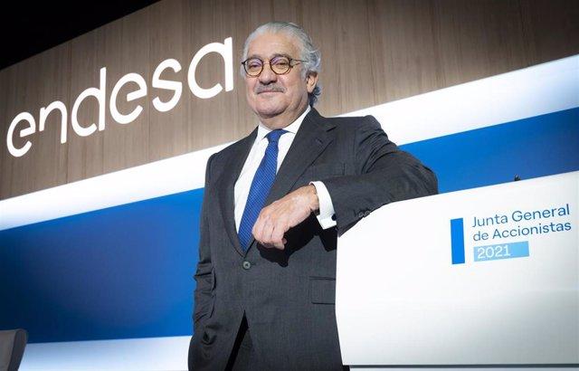 Archivo - El consejero delegado de Endesa, José Bogas, en la junta general de accionistas de 2021