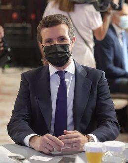 El presidente del Partido Popular, Pablo Casado, durante un desayuno informativo del Fórum Europa, organizado por Nueva Economía Fórum,tido en Madrid.