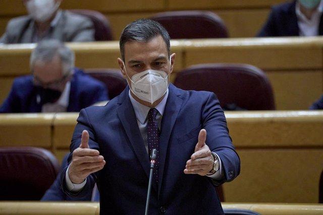 Archivo - El presidente del Gobierno, Pedro Sánchez, interviene durante una sesión de control al Gobierno en el Senado, a 13 de abril de 2021, en Madrid (España)