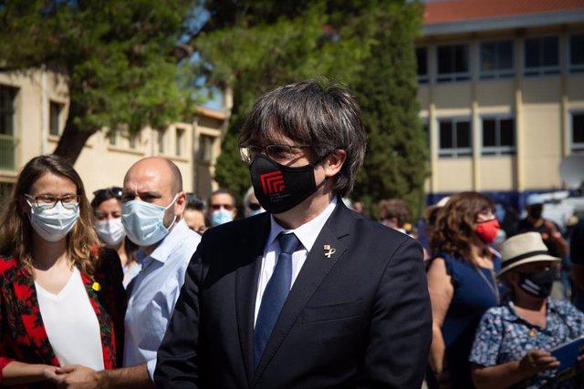 Archivo - Arxiu - L'expresident de la Generalitat Carles Puigdemont en un acte