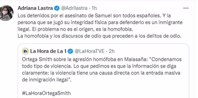 Tuit de Adriana Lastra sobre agresión homófoba.