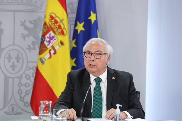 El ministro de Universidades, Manuel Castells, en una rueda de prensa posterior al Consejo de Ministros, el pasado 31 de agosto de 2021, en Madrid
