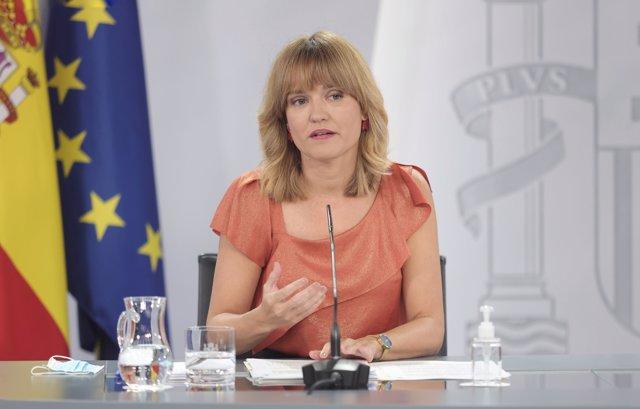 La ministra de Educación y Formación Profesional, Pilar Alegría, comparece tras la reunión del Consejo de Ministros, a 7 de septiembre de 2021, en Madrid