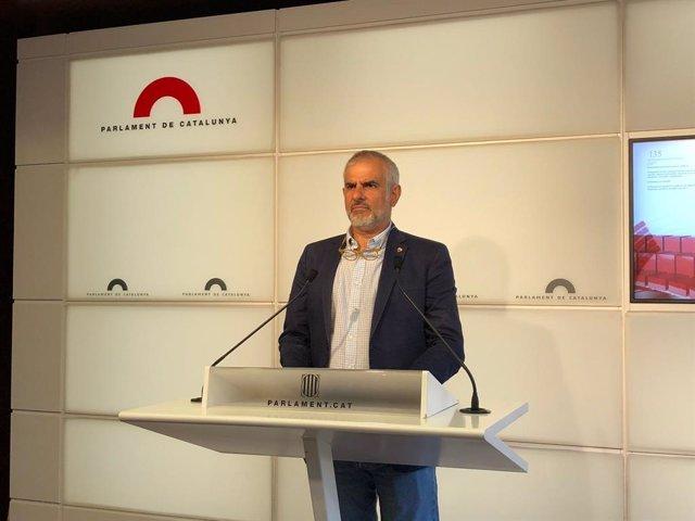El líder de Cs a Catalunya, Carlos Carrizosa, en la roda de premsa