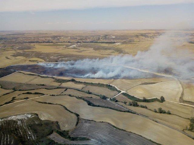 Incendio agrícola en Santibáñez-Zarzaguda (Burgos).