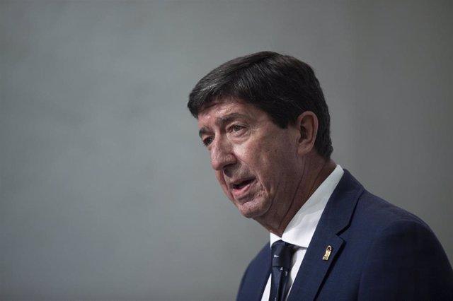 El vicepresidente de la Junta de Andalucía, Juan Marín, durante la rueda de prensa tras la reunión del Consejo de Gobierno de la Junta de Andalucía. A 07 de septiembre de 2021, en Sevilla (Andalucía , España).