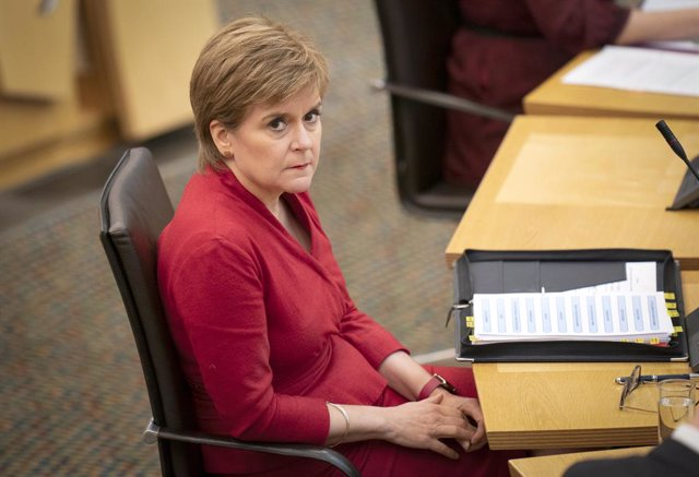 02 September 2021, United Kingdom, Edinburgh: Scotland's First Minister Nicola Sturgeon attends First Minister's Questions at the Scottish Parliament. Photo: Jane Barlow/PA Wire/dpa