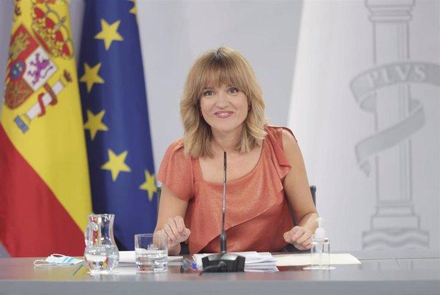 La ministra de Educación y Formación Profesional, Pilar Alegría, en la rueda de prensa posterior al Consejo de Ministros este 7 de septiembre de 2021, en Madrid