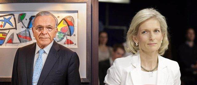 El presidente de la Fundación La Caixa, Isidre Fainé, y la editora de The Economist, Susan 'Zanny0 Minton
