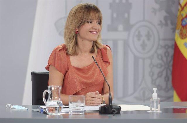 La ministra de Educación y Formación Profesional, Pilar Alegría, comparece tras la reunión del Consejo de Ministros, a 7 de septiembre de 2021, en Madrid (España). El Gobierno ha aprobado este martes el anteproyecto de Ley de Convivencia Universitaria en