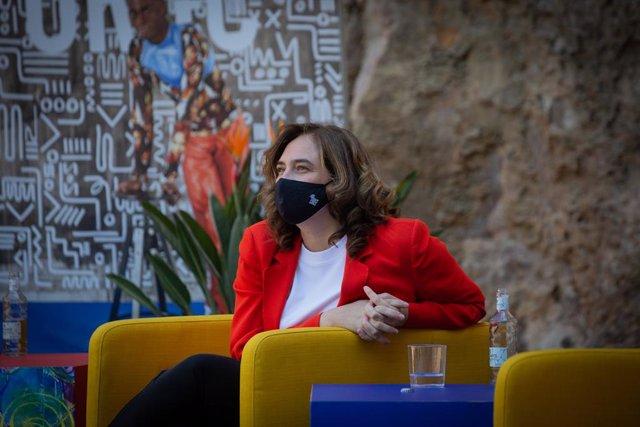 Archivo - Arxivo - L'alcaldessa de Barcelona, Ada Colau, durant una roda de premsa en la presentació de la programació del Festival Grec 2021 en el Teatre Grec, a 4 de maig de 2021, a Barcelona, Catalunya (Espanya).