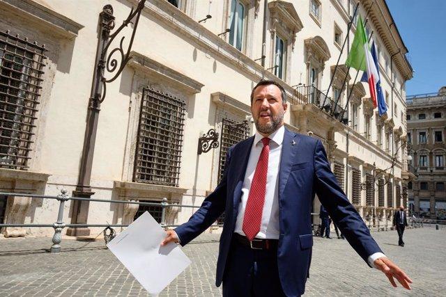 Archivo - 14 July 2021, Italy, Rome: Lega Nord leader Matteo Salvini leaves the Chigi Palace after a meeting with Italian Prime Minister Mario Draghi. Photo: Mauro Scrobogna/LaPresse via ZUMA Press/dpa