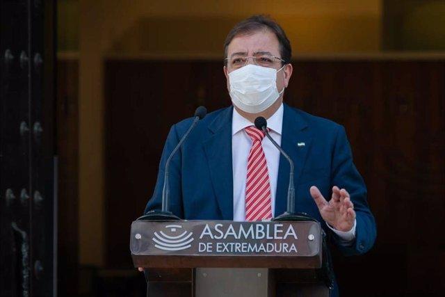 El presidente de la Junta de Extremadura, Guillermo Fernández Vara, en el acto del Día de Extremadura