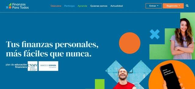 Captura de pantalla de la web www.Finanzasparatodos.Es  del Plan de Educación Financiera, promovido por la CNMV y el Banco de España.