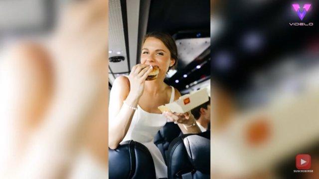 Dos novios recién casados pasan por McDonald's el día de su boda antes de la recepción porque tenían hambre