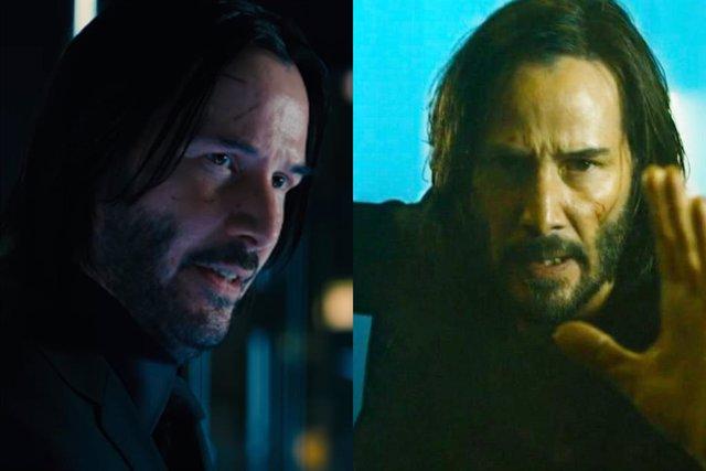 John Wick y Neo, ambos interpretados por Keanu Reeves