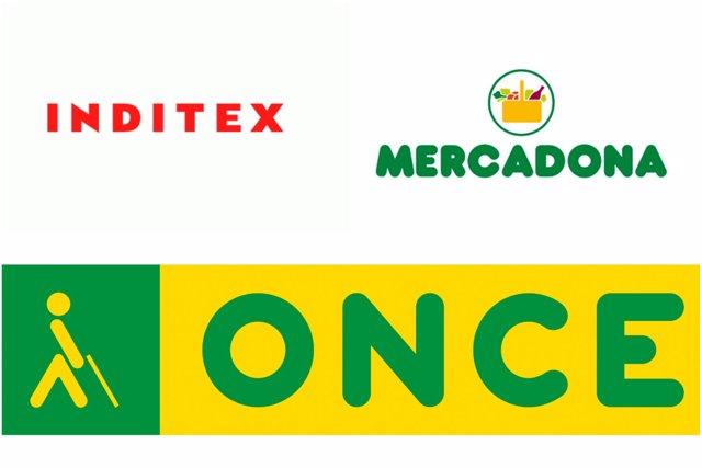 Montaje con los logotipos de Inditex, Mercadona y ONCE