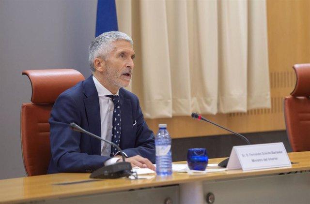 El ministro de Interior, Fernando Grande-Marlaska, interviene durante un acto de la DGT