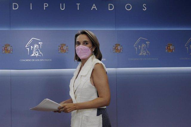 La portavoz parlamentaria del PP, Cuca Gamarra, durante una rueda de prensa tras una reunión de la Junta de Portavoces, a 8 de septiembre de 2021, en Madrid (España).