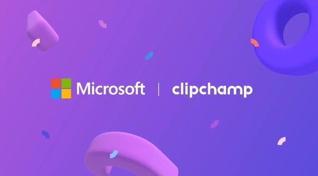 Logos de Microsoft y Clipchamp con motivo de la adquisición de la segunda.