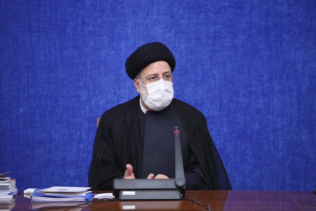 HANDOUT - 22 August 2021, Iran, Tehran: Iranian President Ebrahim Raisi speaks during a meeting of the cabinet's Economic Coordination Board. Photo: -/Iranian Presidency/dpa - ATTENTION: editorial use only and only if the credit mentioned above is referen