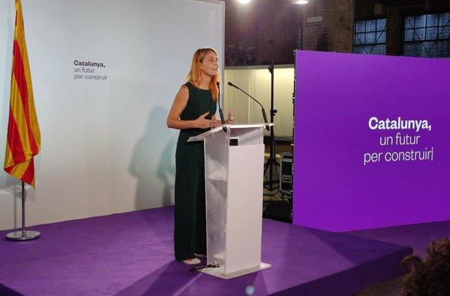 La líder dels comuns al Parlament, Jéssica Albiach, en la conferència d'obertura del curs polític