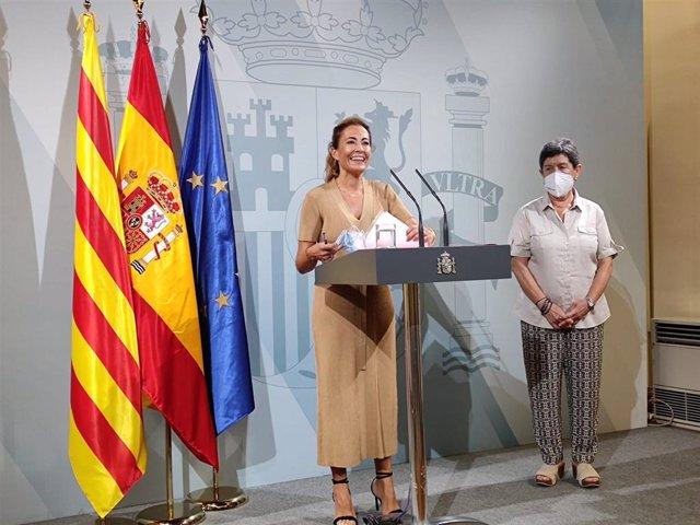 La ministra de Transports, Mobilitat i Agenda Urbana, Raquel Sánchez, aquest dimecres en roda de premsa
