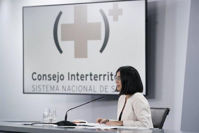 La ministra de Sanidad, Carolina Darias, durante la rueda de prensa posterior al Consejo Interterritorial del Sistema Nacional de Salud, en La Moncloa, a 1 de septiembre de 2021, en Madrid (España). Durante el Consejo Interterritorial del Sistema Nacional