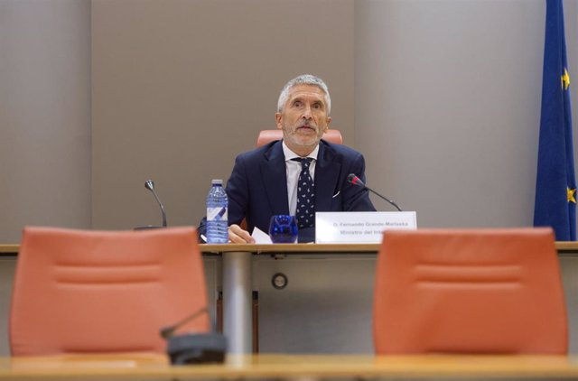 El ministro de Interior, Fernando Grande-Marlaska, interviene durante la presentación del balance de la Operación Verano de la Dirección General de Tráfico (DGT), a 3 de septiembre de 2021, en Madrid, (España).