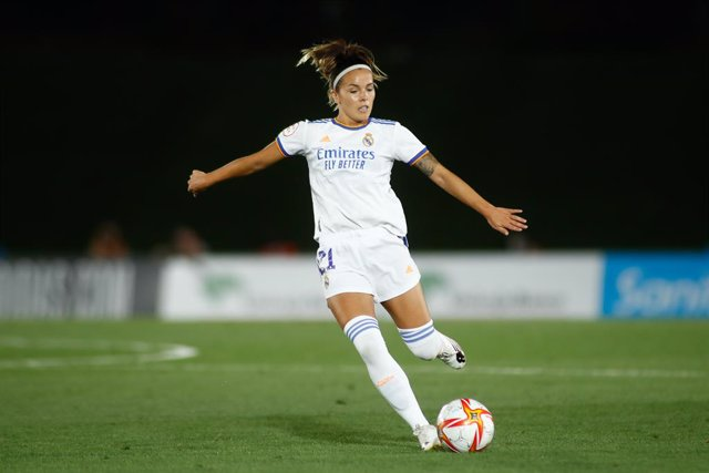 Claudia Zornoza of Real Madrid in action during the UEFA Women's Champions League football match played between Real Madrid and Manchester City at Alfredo Di Stefano stadium on August 31, 2021, in Madrid, Spain.