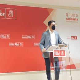 El vicesecretario xeral del PSdeG, Pablo Arangüena, en la rueda de prensa