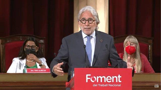 El president de Foment del Treball, Josep Sánchez Llibre, durant la seva intervenció