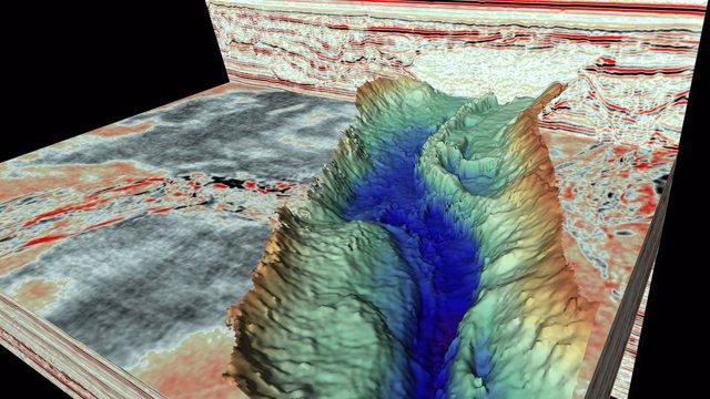 Imagen de cerca de un esker (un molde sedimentario de un canal de agua de deshielo formado debajo de una capa de hielo), descubierto dentro de un valle de túnel utilizando los nuevos datos de reflexión sísmica 3D.