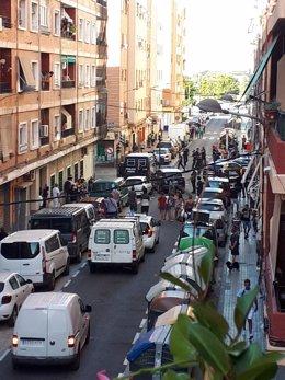 Imagen de una riña tumultuaria en el barrio valenciano de Orriols.