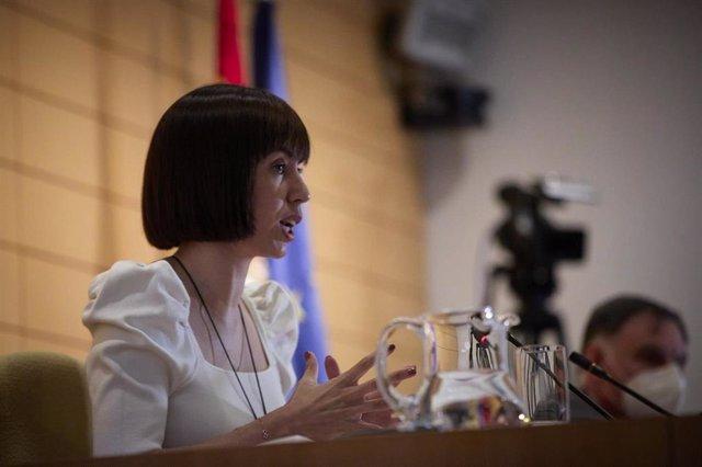 Archivo - La ministra de Ciencia e Innovación, Diana Morant, interviene en la presentación de la convocatoria 2021 del programa Misiones Ciencia e Innovación del Centro para el Desarrollo Tecnológico e Industrial (CDTI), a 26 de julio de 2021, en Madrid,