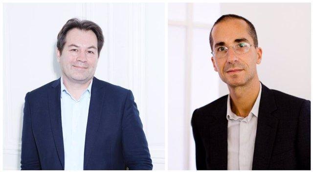 Portrait (left) of Guillaume Piens  Chiara Santarelli and portrait (right) of Hervé Mikaeloff  Mazen Saggar