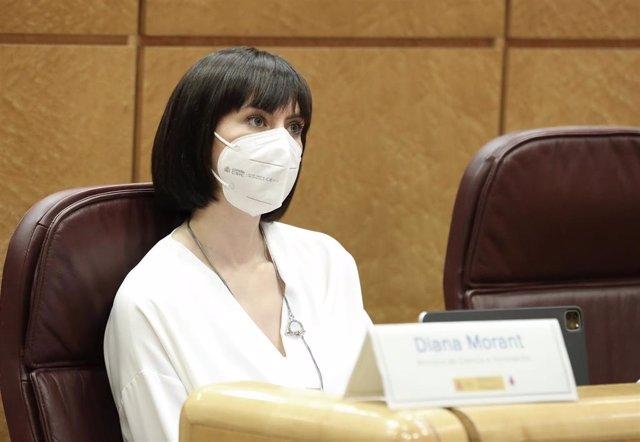 La ministra de Ciencia e Innovación, Diana Morant, durante la inauguración de la jornada 'Cities 2030. Las ciudades españolas ante el reto de la neutralidad climática', organizada por el Ministerio para la Transición Ecológica y el Reto Demográfico (MITEC