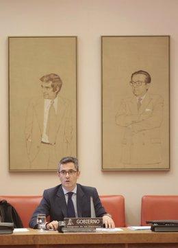 El ministro de la Presidencia, Relaciones con las Cortes y Memoria Democrática, Félix Bolaños, comparece en la Comisión Constitucional en el Congreso de los Diputados, a 9 de septiembre de 2021, en Madrid (España)