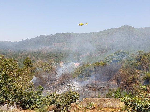 Incendio en Los Bebederos, en La Orotava