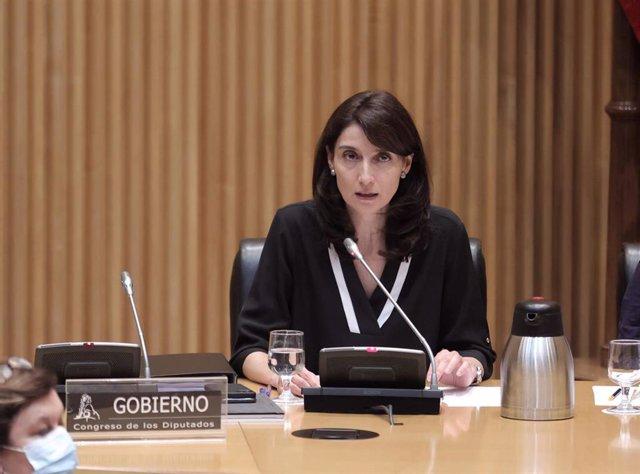 La ministra de Justicia, Pilar Llop, acude a comparecer en la comisión de su departamento en el Congreso de los Diputados, a 9 de septiembre de 2021, en Madrid (España). LLop comparece a petición propia, para informar de las líneas generales de la polític