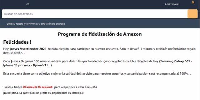 Correo que suplanta a Amazon